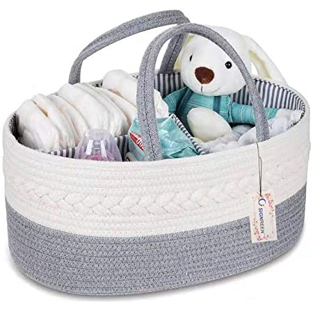 Baby Rope Diaper Caddy Organizer Premium Large Hand Woven Two Tone Rope Organizer Great Storage Organization Basket for Newborn Diapers Great Nursery Decor or Portable Baby Bag.