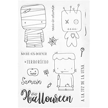 FlYHIGH Halloween Silicona DIY Sellos Claros Scrapbooking para Álbum de Fotos Tarjeta de Papel Arte Artesanía Decoración: Amazon.es: Hogar