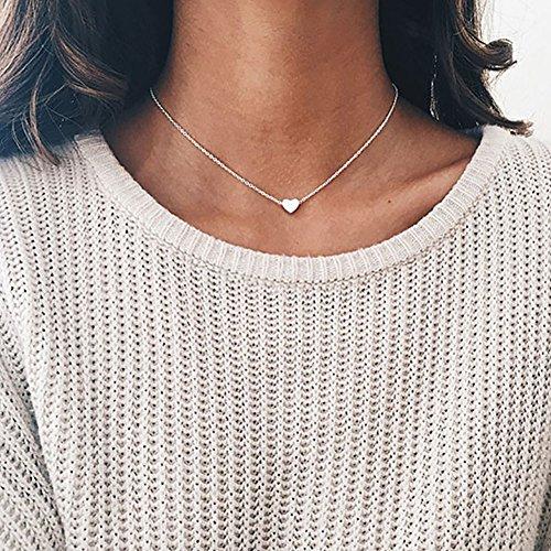 Healthy clubs Halsketting/Halsband met hart-Hanger, Silber, A