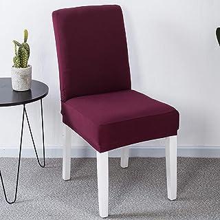 JZK 6 x Fundas Silla Comedor Burdeos Spandex para sillas Espalda Alta, Cubiertas para sillas, Funda elásticas para sillas Comedor, sillas Fiesta, Silla Boda