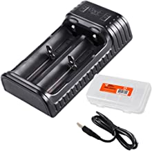 Fenix ARE-X2 Two Channel USB Smart Charger for 18650 26650 16340, RCR123A,14500, 10440 Batteries with LumenTac Battery Organizer, for PD35 TK15 TK16 TK32