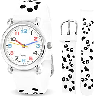 Black White Zoo Panda Waterproof Wrist Watch Time Teacher Quartz 3D Cartoon Silicone Wristband Round Colorful Dial