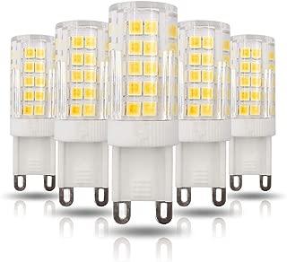 ZHENMING G9 LED Light Bulbs, Dimmable G9 Base, 5W Equivalent 50W Halogen, 450LM,Warm White 3000K, AC 110V, G9 Bin-pin Base, G9 Bulbs for Home Lighting (Pack of 5) (Warm White)