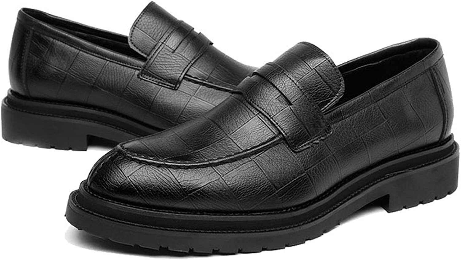 FeiNianJSh Men's Classic shoes PU Leather shoes Slip-on Loafers Square Texture Outsole Business Oxfords Comfort shoes