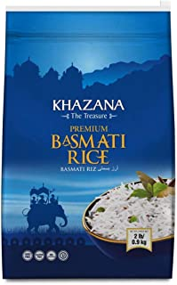 Khazana Premium Basmati Rice - 2lb Resealable Ziploc Bag | Aged Aromatic, Flavorful, Authentic Grain From India | GMO-Free, Gluten Free, Cholesterol Free & Kosher