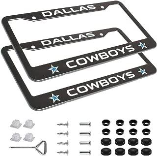 99 Carpro Auto NFL License Plate Frames, 2pcs Aluminum Alloy Cars Licence Plate Frame Covers for Dallas Cowboys, Matte Balck