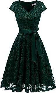 Weihnachten A-Linie Kleid mit O-Ring Bowknot Contrast Velvet Midi-Partykleid Abendkleid Cocktailkleid Rot /& Wei/ß CHARMMA Retro Kleid