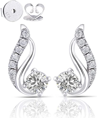 DovEggs 10K White Gold Post 0.5ct Center 4mm G-H-I Color Moissanite Drop Earrings with Accents Platinum Plated Silver Push Back for Women