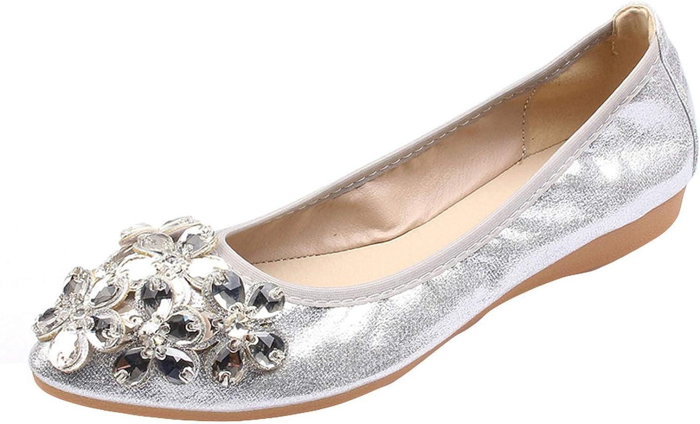 Fashion Flat Sandals Women 20198 Ballet shoes Leisure Rhinestone Flats shoes Princess Shiny Sandalias silverforma  G30