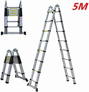 Escalera telescópica, Hansemay Escalera plegable de aluminio Escalera de colocación 5 M Escalera multifunción extensible Plegable 150 kg