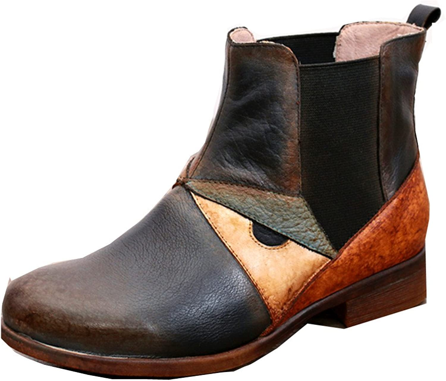 Dwarves Handmade Retro Leather Chelsea Boots color Blocking Chunky Heels