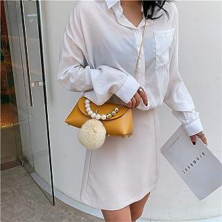 ZZZ Chain Shoulder Bag Pearl Handbag Studded Fashion Hair Ball Messenger Bag fashion (Color : Yellow)