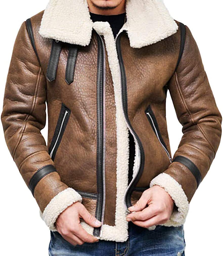 Mens Warm Jacket Vintage Fall Winter Full Zipper Thicken Sherpa Lined Motorcycle Bomber Faux Leather Outwear Coat