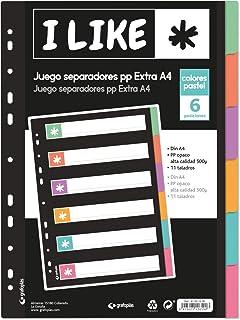 Grafoplás 41261200. Lot de 6 intercalaires pour classeur, A4, couleurs pastel, 6 positions, collection Like