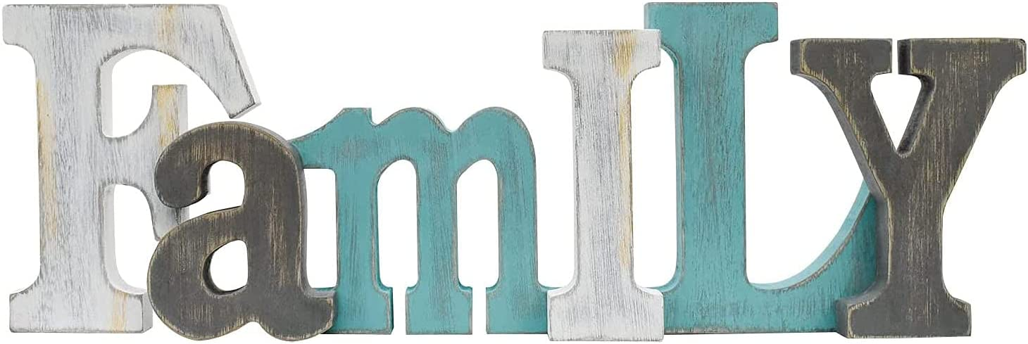 GAPLUM Wood Family Wall & Tabletop Sign for Home Decor, Wooden Block Letters Family Wall Mounted Sign Rustic Hanging & Freestanding Words Sign Farmhouse Decoration-15.75''L