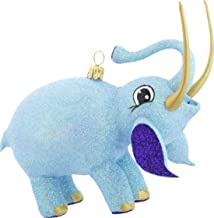 daPolonia.com an Adorable Fully Glittered Blue Elephant with Golden Tusks and Trunk Raised for Good Luck, Fully Free Blown Each one of a Kind.