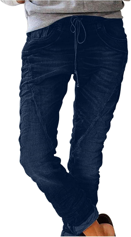 NREALY Women Elastic Sacramento Mall Pocket Straight Daliy Casual Denim Pa Jeans San Francisco Mall