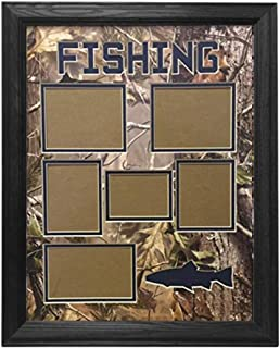Northern Promotions, LLC. Framed & Matted Wildlife Art Real Tree Hunting Collage - Fishing (Black Oak)