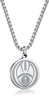 Football Athletes Jersey Number Stainless Steel Cross Pendant Necklace for Boys Girls Women Men 22 24 Inch Chain