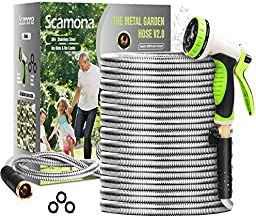 """Scamona Metal Garden Hose 100FT - Flexible Lightweight Tough 304 Stainless Steel Hose with 10-Way Spray Nozzle - Durable 3/4""""Solid Brass Fittings and On/Off Valve - No Kink,Rust Proof, Leak Resistant."""