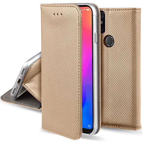 Moozy Funda para Xiaomi Mi A2 Lite, Xiaomi Redmi 6 Pro, Dorado - Flip Cover Smart Magnética con Stand Plegable y Soporte de Silicona
