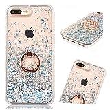 ZCRO Funda para iPhone 8 Plus/iPhone 7 Plus (no para 8/7), funda de silicona transparente con purpurina líquida brillante con soporte para anillo para iPhone 8 Plus/iPhone 7 Plus (plata)