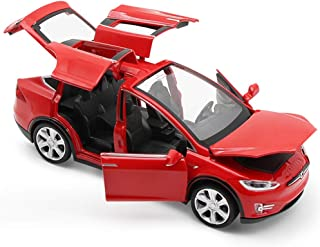 Toy Car Model x, Pull Back Car Toys Alloy Vehicles with Lights and Sound 1:32 Scale Model Car (Red)