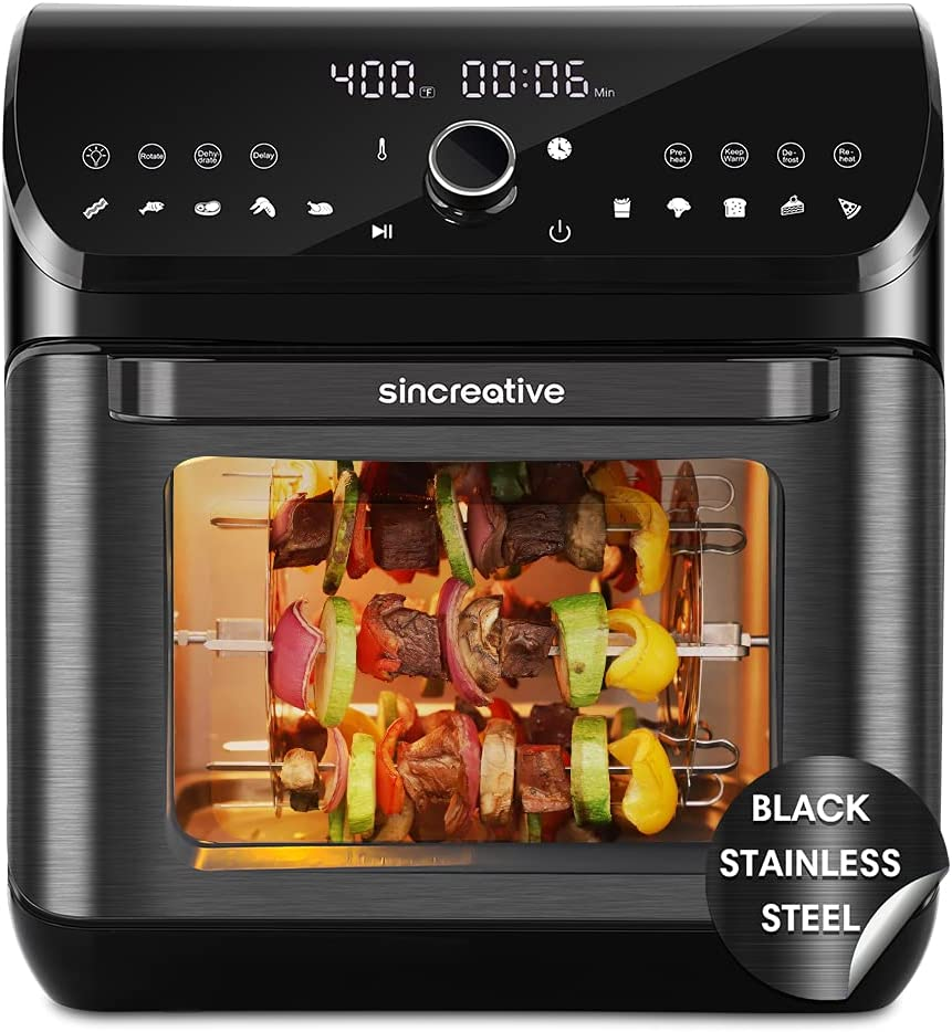 Sincreative Air Fryer Toaster Oven   10-in-1 Hot Air Fryer Rotisserie Oven Dehydrator Combo   XL Large Air Fryer Family Size   LED Touch Screen, 7 Accessories   10.6 QT Black ETL Cert   1-yr Warranty