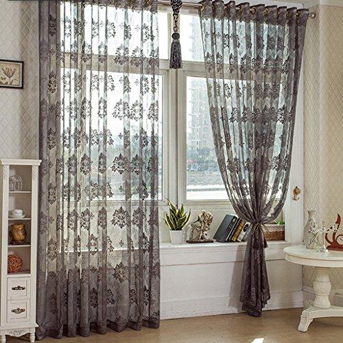 Met Love Simple Polyester Warp Semi-transparent Fenêtre Écran Simple Moderne Salon Baie Fenêtre Balcon Mince Fenêtre Criblage 2 Panneaux (taille : L:2.0*H:2.7m)