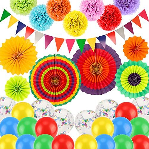 SAVITA 36 Piezas Mexicano Decoración De Fiesta Incluidos Ventiladores De Papel Colgantes Pompones Banderas Triangulares Del Empavesado Globos De Látex para Bautismo Fiestas Suministros