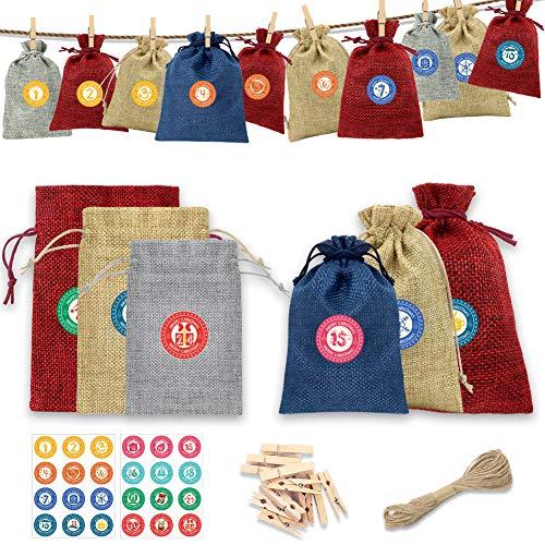 HAIGOU 24 Adventskalender Zum Befüllen mit 24 Adventszahlen Aufkleber Füllung - Taschen, Jutesäcke, Stofftaschen, Natursäcke, Taschen, Weihnachtskalender-Bastelsets