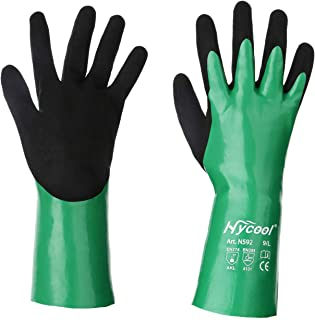 DS Safety N592 Nitrile Coating Work Gloves Chemical Resistant Nylon Latex Nitrile Gloves 18 Gauge Hycool Grip Water-Proof Work Gloves for Men's Work Gloves 1 Pair (Large)