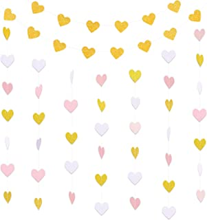 Hestya 2 Pack Paper Heart Garlands Heart Hanging Banner Bunting for Valentine's Day Wedding Party Decoration, 10 Feet Each, Vertical White and Pink, Horizontal Glitter Gold
