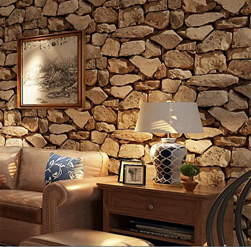 H&M Wallpaper 3D Stone Wallpaper Stereo Imitation Texture Wallpaper PVC...