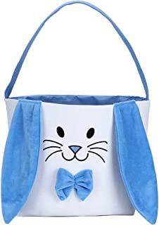 Bunny Easter Basket for Kids Easter Gift Bags Personalized Eggs Hunt Bag with Fluffy Ears,Bunny Tote Bag Candy and Gifts C...