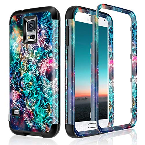 Lamcase for Galaxy S5 Case Shockproof Dual Layer Hard PC & Flexible Silicone High Impact Durable Bumper Drop Protective Case Cover for Samsung Galaxy S5 i9600, Mandala/Galaxy