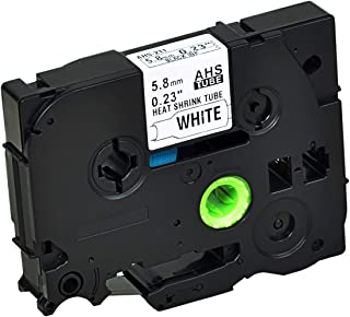 KCMYTONER 1 Pack Black on White Label-Making Tape Heat Shrinkable Tape Compatible for Brother HSe-211 HSe211 HS211 HS-211 5.8mm 1/4