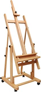 Heavy Duty Extra Large H-Frame Studio Easel - ATWORTH Versatile Solid Beech Wood Artist Floor Easel Adjustable Painting Easel Stand, Movable and Tilting Flat Available