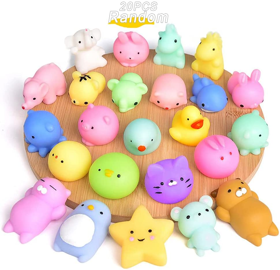 Mochi Squishy Toys 20PCS Party Favors for Kids Cat Dolphin Squishy Squeeze Stress Relief Toys Mini Mochi Kawaii Animal Party Novelty Toys Boy Girl Birthday Gift Random