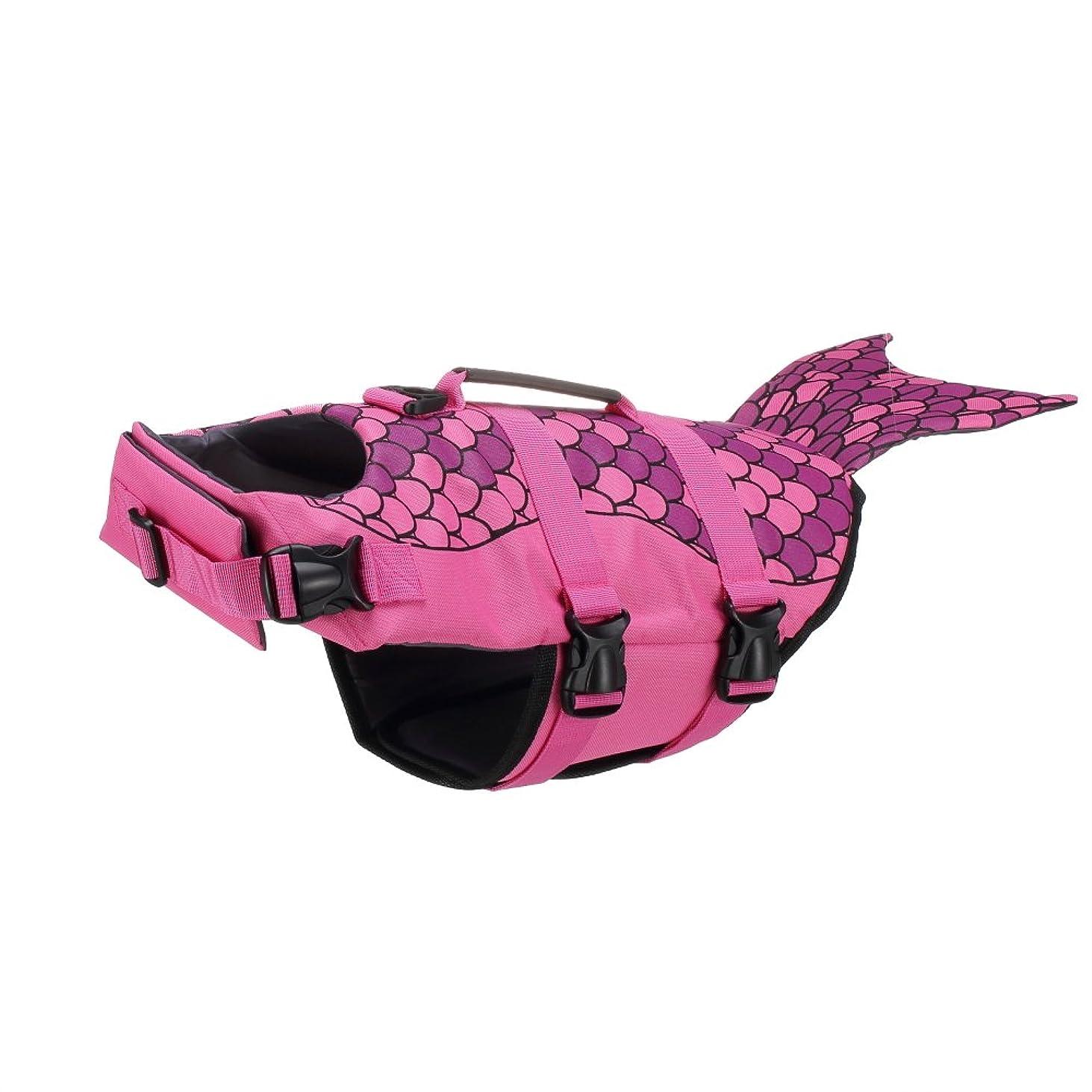 リットルストリップキャプテンブライBeho ペット用品 犬 ライフジャケット 密度の高い生地採用 浮力が優れる 水泳練習 かわいい 救命胴衣 フローティングベスト 安全 人魚 サメ S/M/L - L ローズレッド
