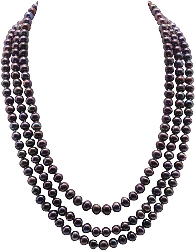 JYX Pearl Triple Strand Necklace 6-7mm Classic Black Freshwater Pearl Necklace for Women 18
