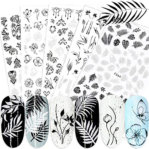 Flower Nail Stickers, 3D Self-Adhesive Butterfly Leaf French Nail Decals Black White Retro Flower Vine Pattern Spring Nail Art Stickers Nail Design DIY Nail Decoration for Women Girls (6Sheets)