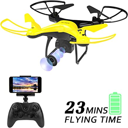 $54 Get Dwi Dowellin Drone with 720P HD Camera Live Video 23mins Long Flight Time WiFi FPV RC Quadcopter Trajectory Flight One Key Take Off Flips Rolls Drones for Kids Beginner Children Adults