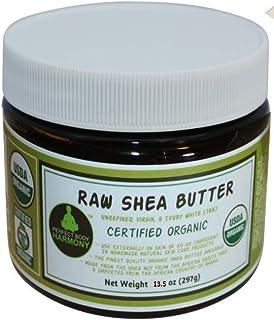 Unrefined Raw Shea Butter - Certified Organic; Premium, Imported African Ivory (Tan); 13.5 oz Lg Dark BPA Free JAR; Moistu...