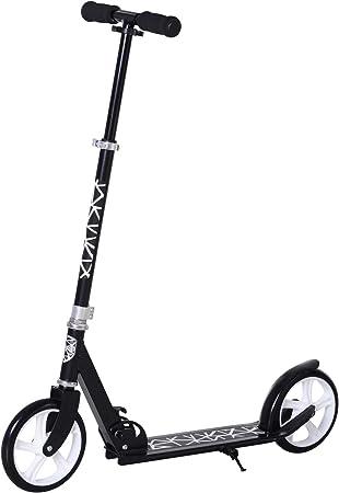HOMCOM Patinete Plegable Scooter con Manillar Altura Ajustable 86/92/98cm Patinete para Adultos y Niños (más de 14 años) Tipo Monopatín con Freno ...