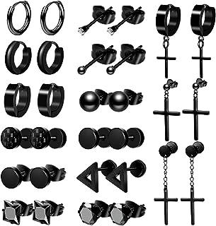 ONESING 15-18 Pairs Earrings for Men Black Stud Earrings Mens Earrings Stainless Steel Stud Earrings Set for Men Women Jew...