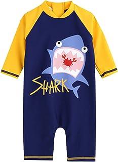 REWANGOING Little Kids Boys Girls Short Sleeve Uv Rash Guard Swimwear Sun Protective Swimsuit Diving Suits