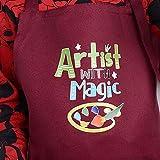 VINFUTUR Kinder Schürze und Kochmütze Set Jungen Mädchen Kochschürze Verstellbar Kinderschürze für Küche Kochen Backen Malerei DIY Handwerk, 6-12 Jahren - 4