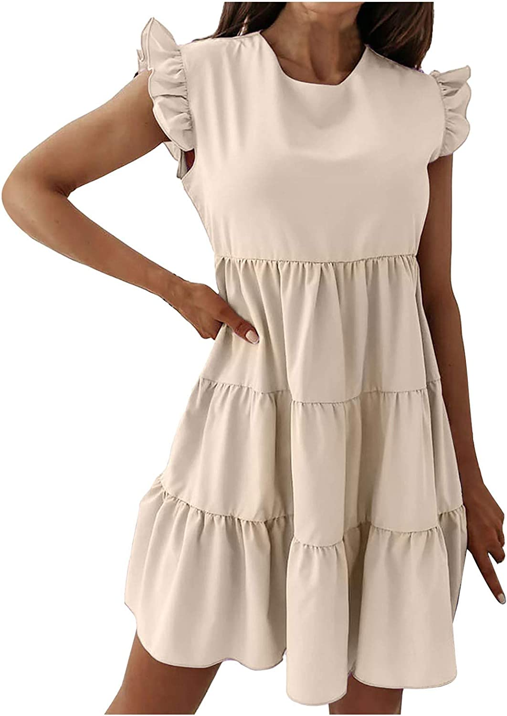 JPLZi Womens Summer Ruffle Sleeve Crewneck Plain Patchwork Dress Mini Dress Cute Dressses Beach Party Swing Dress Sundress