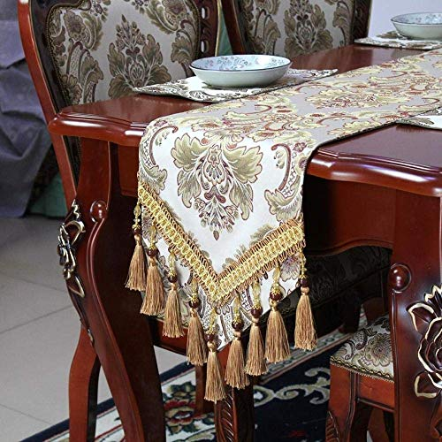 Camino de mesa, diseño vintage de lujo, color beige, moderno, minimalista, elegante, bordado en jacquard, con borlas, para decoración de mesa de boda, hogar, mesa de café, 30 cm x 180 cm